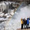 黄河壶口瀑布冰凌成型